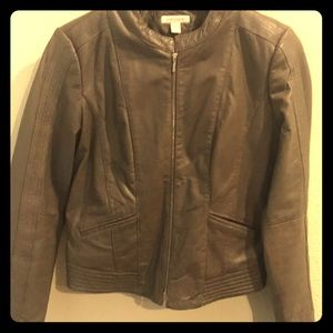 Boston Proper tan / taupe color leather jacket